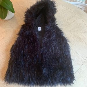 Gap Hooded faux fur navy vest